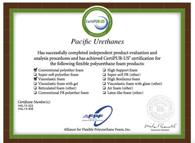 certified foam producer certipur personal comfort