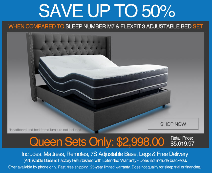 save up to 50% over sleep number m7 number bed mattress and flexfit 3 adjustable bed set